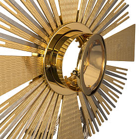 Monstrance in brass with figurines in bronze, with red stones s8