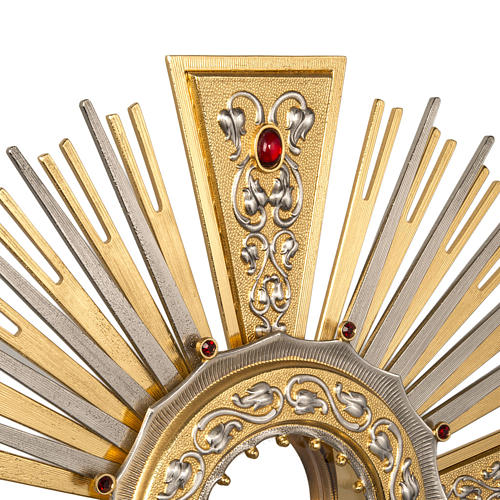 Monstrance in brass with figurines in bronze, with red stones 2