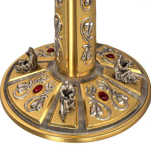 Monstrance in brass with figurines in bronze, with red stones 6