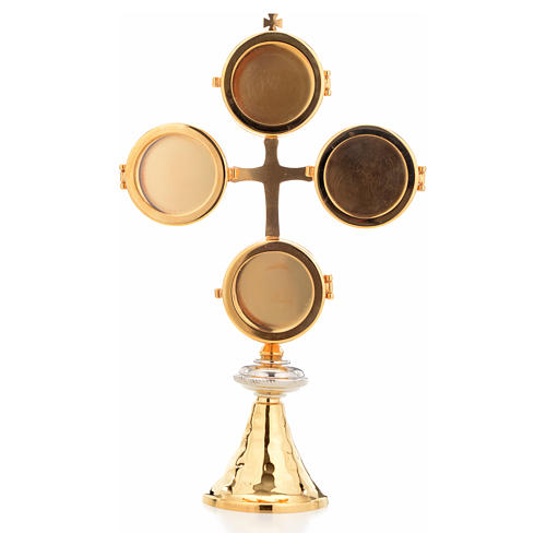 Reliquary with cross and 4 display cases 1