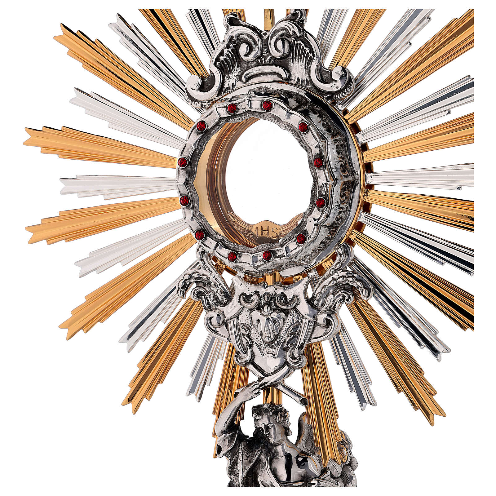 Monstrance in brass, Baroque style and Swarovski with angel 4