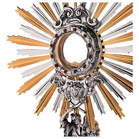 Monstrance in brass, Baroque style and Swarovski with angel s2