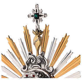 Monstrance in brass, Baroque style and Swarovski with angel s6