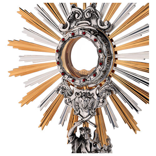 Monstrance in brass, Baroque style and Swarovski with angel 2