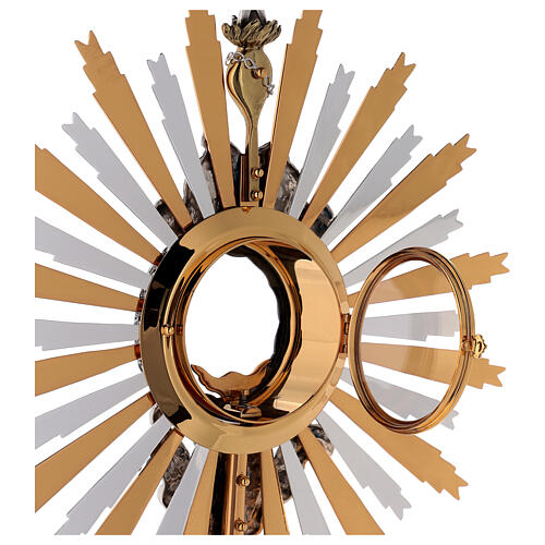 Monstrance in brass, Baroque style and Swarovski with angel 8