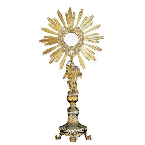 Ostensorio ottone base stile barocco con angelo 1