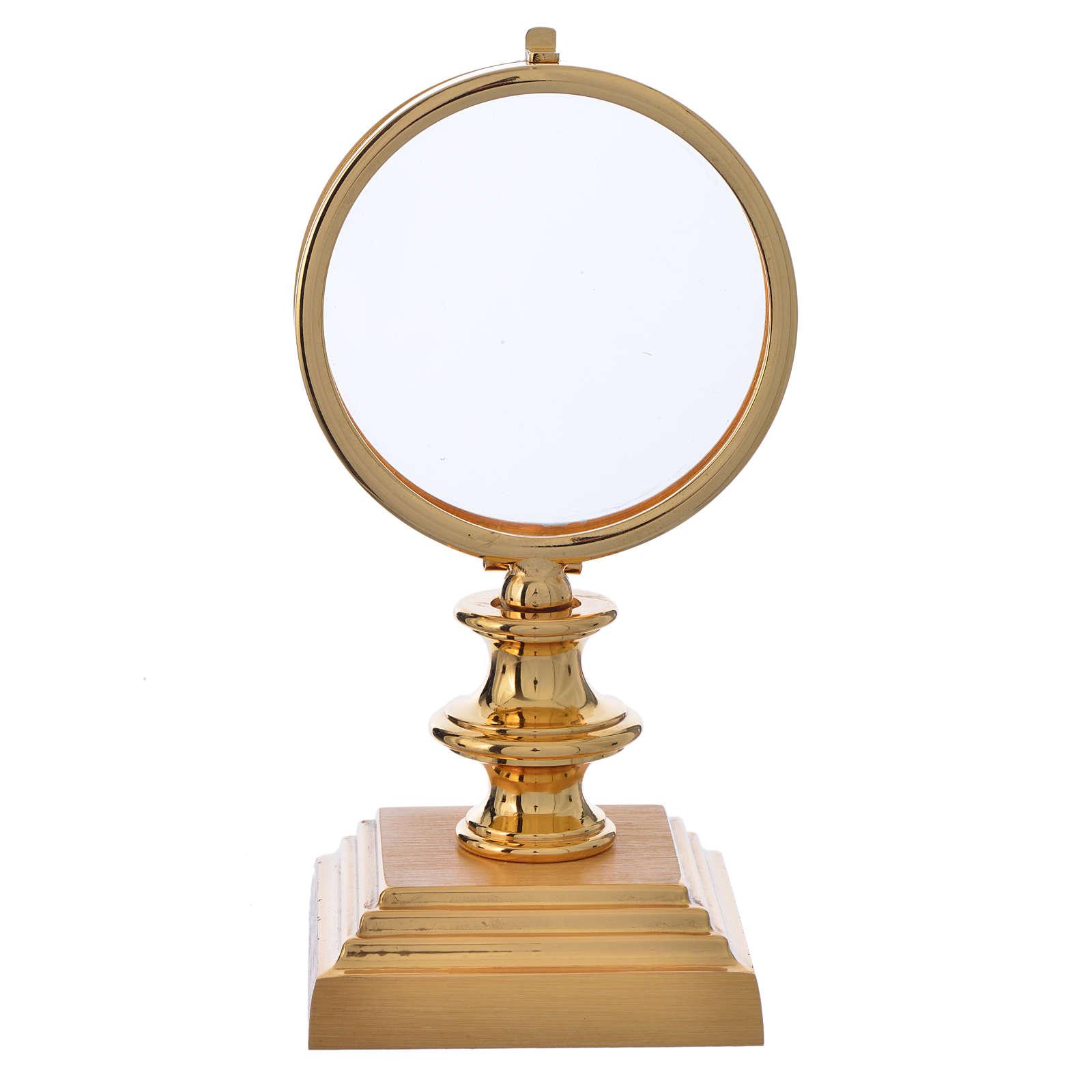 Chapel Monstrance 7,5cm in gold-plated brass H 15cm 4