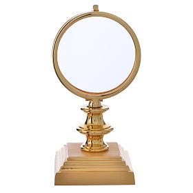 Monstrances, Chapel monstrances, Reliquaries in metal: Chapel Monstrance 7,5cm in gold-plated brass H 15cm