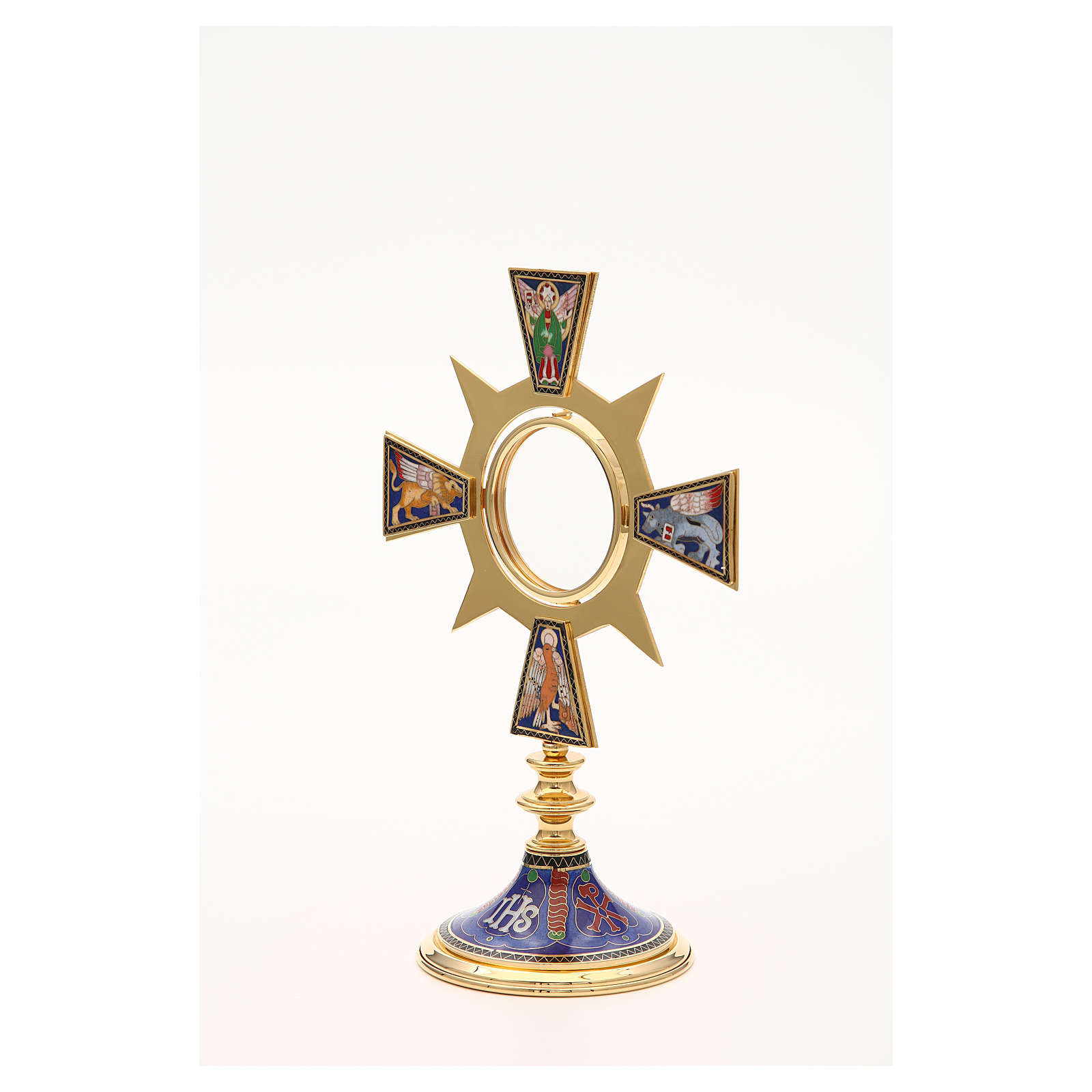 Monstrance in brass and enamel, Four Evangelists, IHS 4