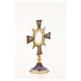 Monstrance in brass and enamel, Four Evangelists, IHS s8