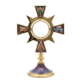 Monstrance in brass and enamel, Four Evangelists, IHS s1