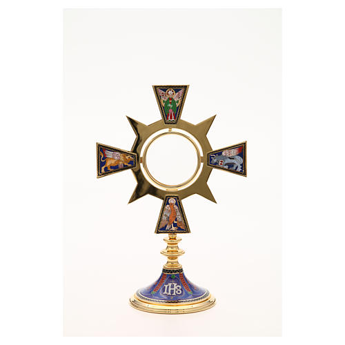 Monstrance in brass and enamel, Four Evangelists, IHS 5