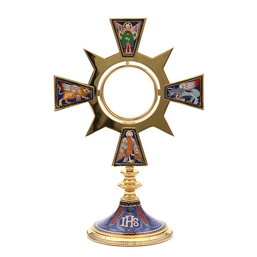 Monstrance in brass and enamel, Four Evangelists, IHS 1