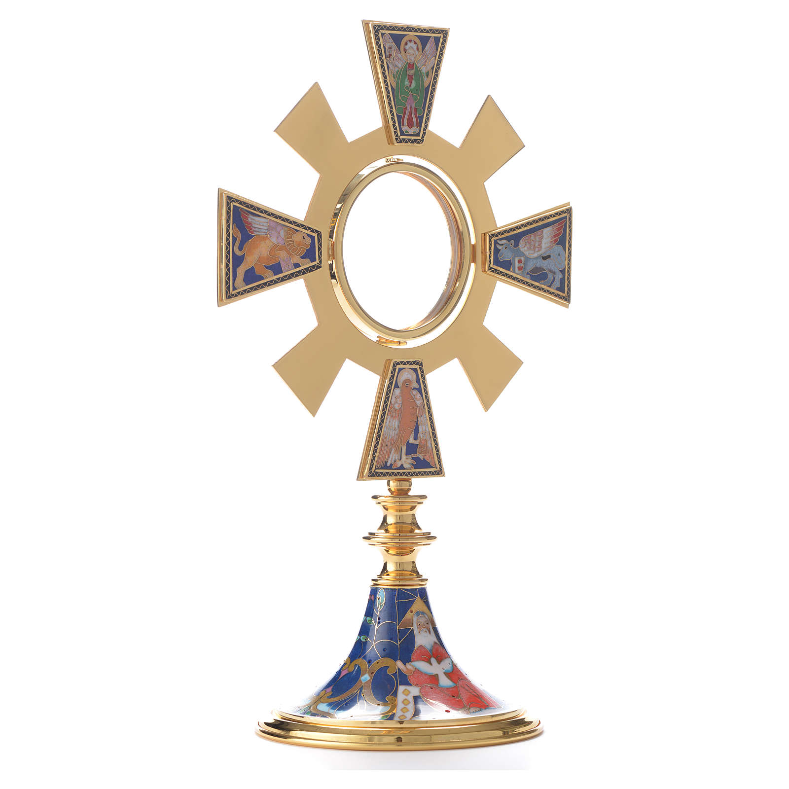 Monstrance in brass and enamel, Four Evangelists 4