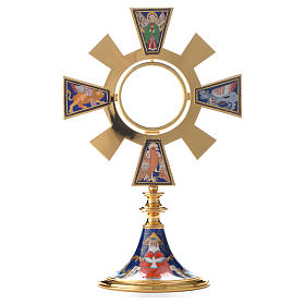 Monstrance in brass and enamel, Four Evangelists s5