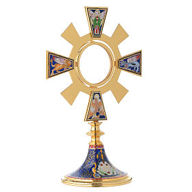 Monstrance in brass and enamel, Four Evangelists s10
