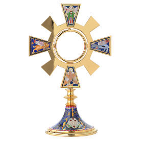 Monstrance in brass and enamel, Four Evangelists s1