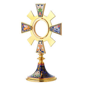 Monstrance in brass and enamel, Four Evangelists s2