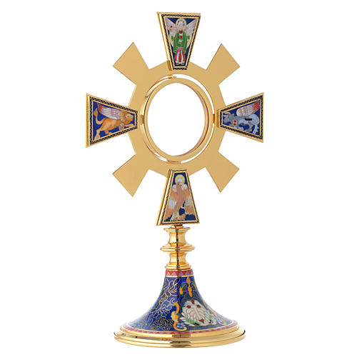 Monstrance in brass and enamel, Four Evangelists 10