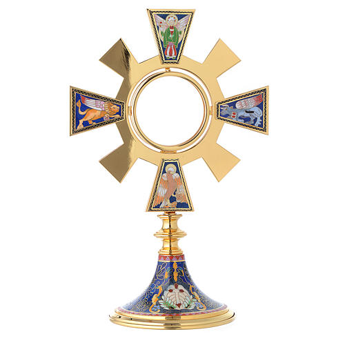 Monstrance in brass and enamel, Four Evangelists 1