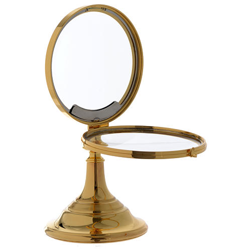 Chapel Monstrance, magna host in gold-plated brass 28 cm 3
