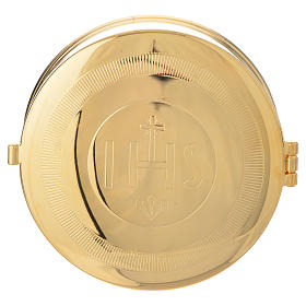 Relicarios eucarísticos: Caja para hostia Latón dorado IHS diám 9 cm con luneta