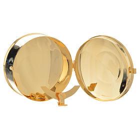 Caja para hostia Latón dorado IHS diám 9 cm con luneta s3