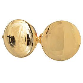 Caja para hostia Latón dorado IHS diám 9 cm con luneta s5
