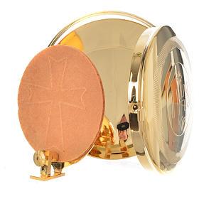 Caja para hostia Latón dorado IHS diám 9 cm con luneta s6