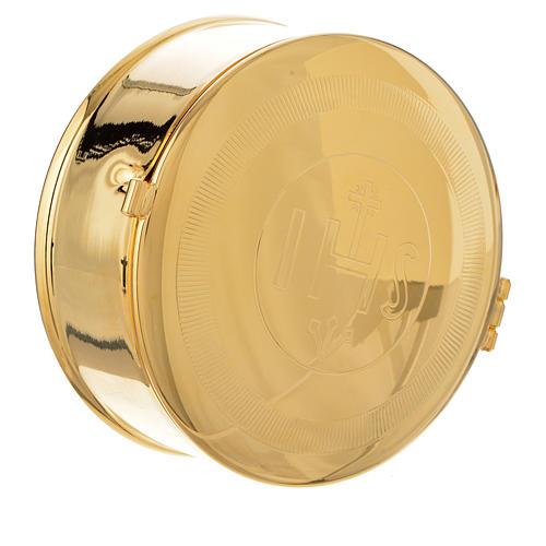 Caja para hostia Latón dorado IHS diám 9 cm con luneta 2