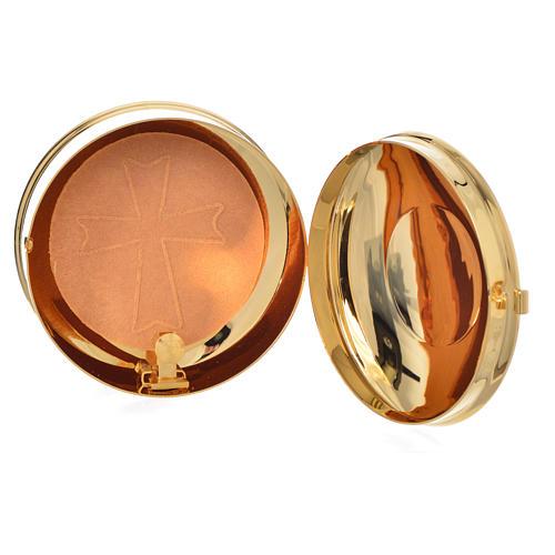 Caja para hostia Latón dorado IHS diám 9 cm con luneta 4