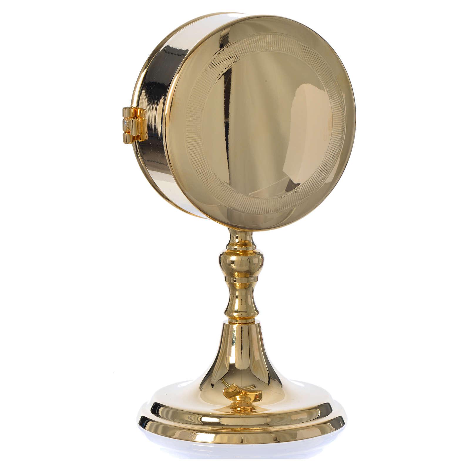 Teca porta ostie con lunetta ottone dorato diam 10 cm 3