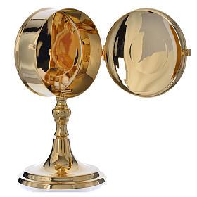 Teca porta ostie con lunetta ottone dorato diam 10 cm s3
