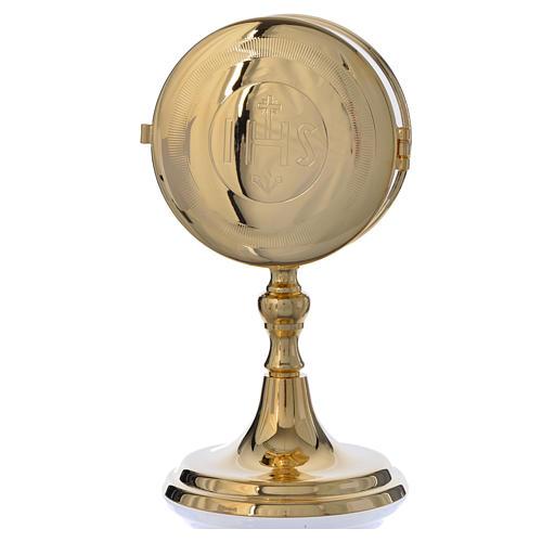 Teca porta ostie con lunetta ottone dorato diam 10 cm 1