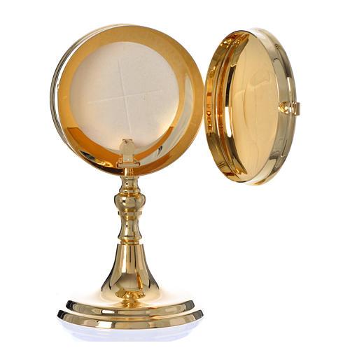 Teca porta ostie con lunetta ottone dorato diam 10 cm 4