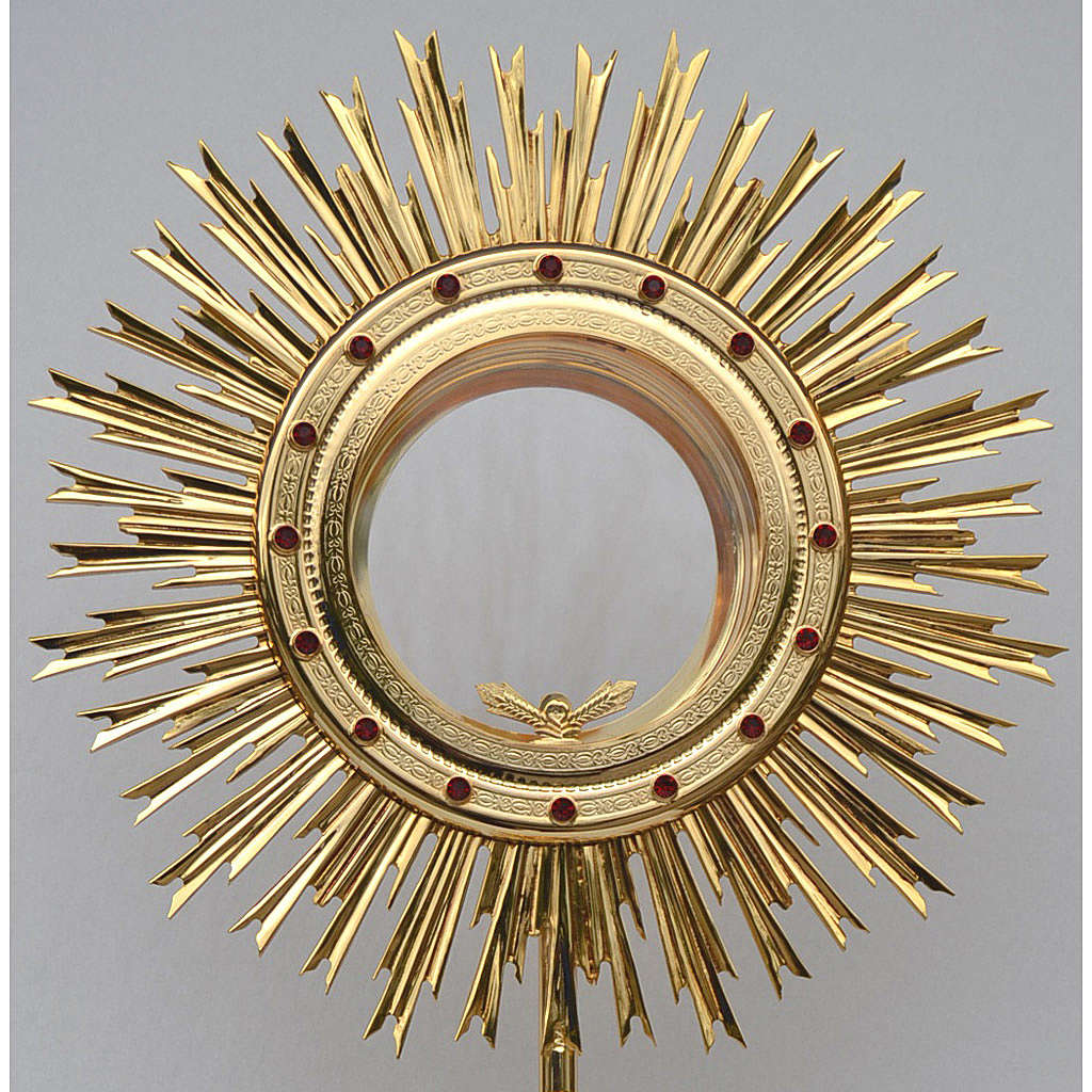 Monstrance for Magna host in brass with red stones H80cm 4