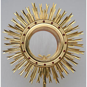 Monstrance for Magna host in brass with red stones H80cm s2