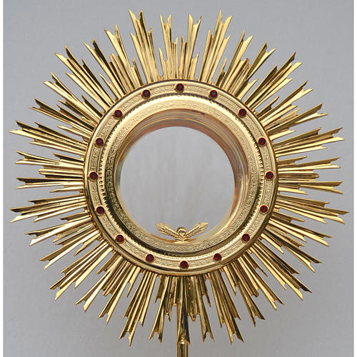 Monstrance for Magna host in brass with red stones H80cm 2