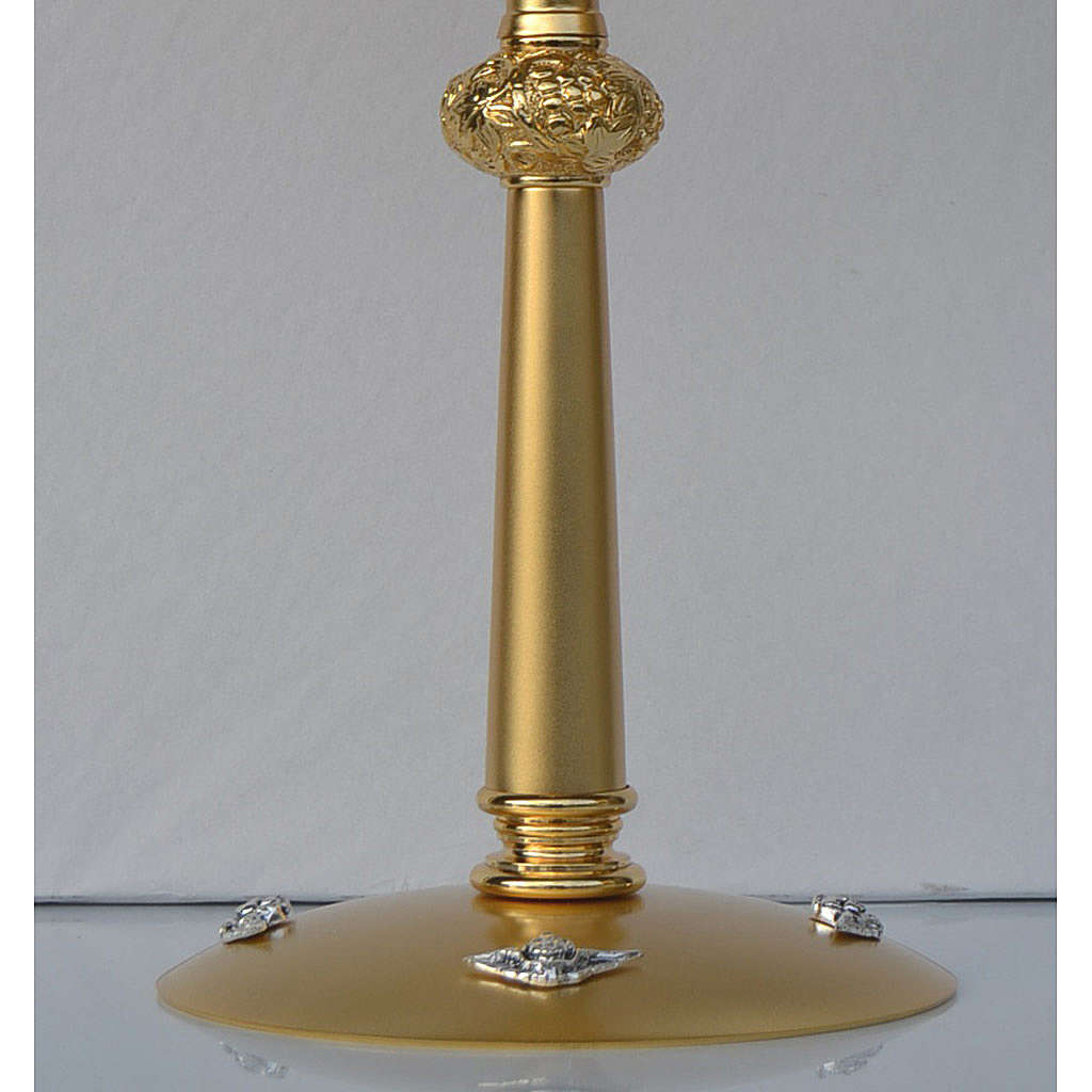 Ostensorio in ottone dorato ostia Magna pietre rosse 4