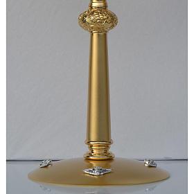 Ostensorio in ottone dorato ostia Magna pietre rosse s3