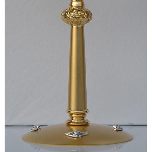 Ostensorio in ottone dorato ostia Magna pietre rosse 3