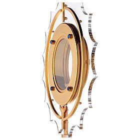 Ostensorio plexiglass ottone pietre angeli ostia 15 cm s6