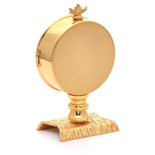 Teca eucaristica ostia 10 cm ottone dorata 3