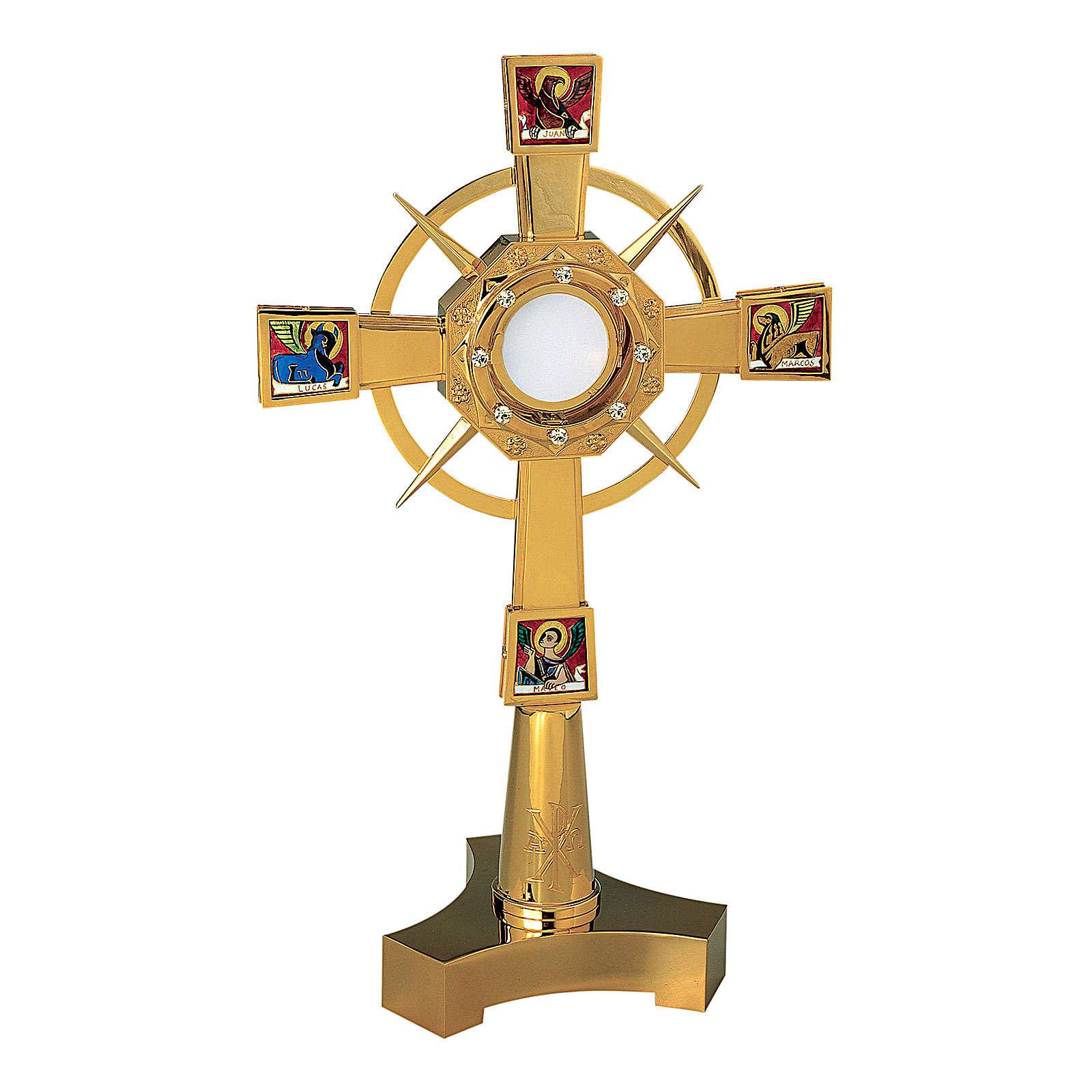Ostensorio Molina Evangelisti pietre e XP 60cm ottone dorato 4