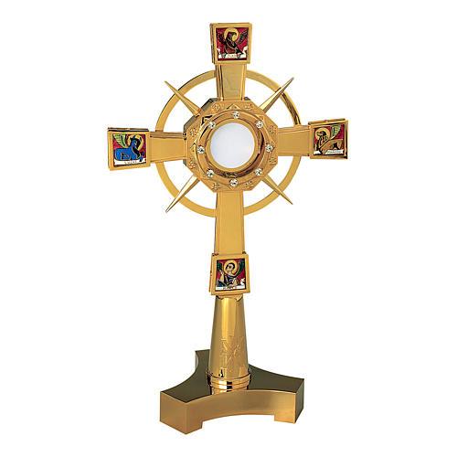 Ostensorio Molina Evangelisti pietre e XP 60cm ottone dorato 1