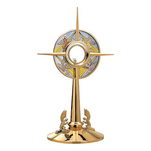 Ostensorio Molina Evangelisti effetto vetrata ottone dorato 1