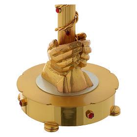 Ostensoir grande hostie bicolore mains et pierres laiton 75 cm s2