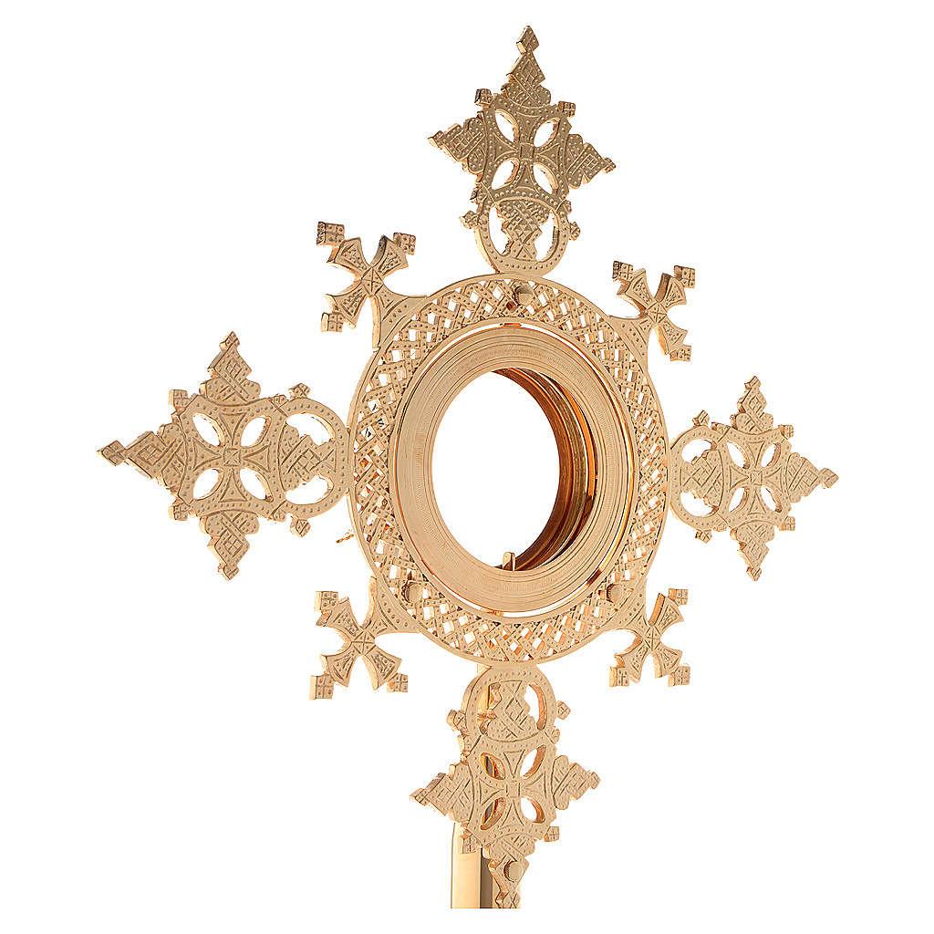Reliquiario h 25 cm ottone dorato 4