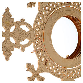Reliquiario h 25 cm ottone dorato s8