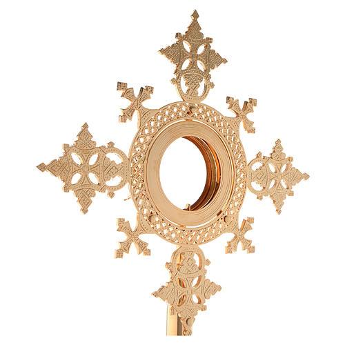 Reliquiario h 25 cm ottone dorato 7